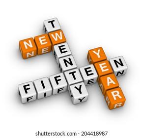 twenty fifteen new year (orange-white crossword puzzles series)