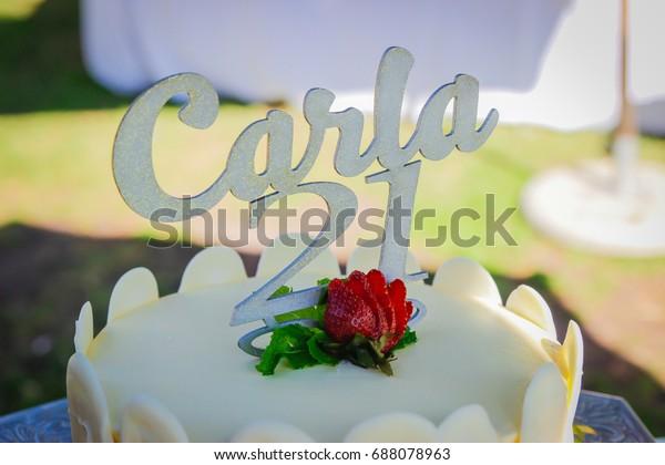 Pleasing Twenty First Birthday Cake Topper Name Stock Photo Edit Now Funny Birthday Cards Online Elaedamsfinfo
