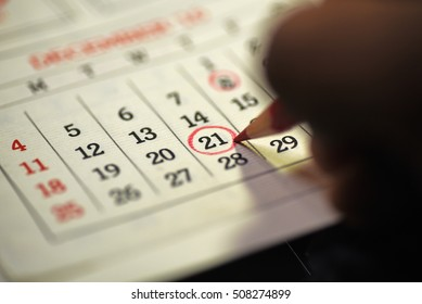 Twenty first day of month/ Month Calendar/ Planning mark on the date