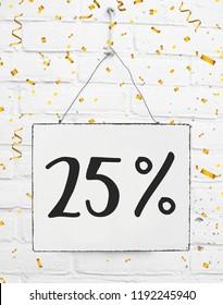 Twenty five 25 % percent off black friday sale 25% discount golden party confetti banner billboard