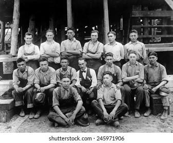 Twenty five Native Americans from the Carlisle Indian College, working in Hog Island shipyard. Philadelphia, Pennsylvania. WWI. Sept. 4, 1918.