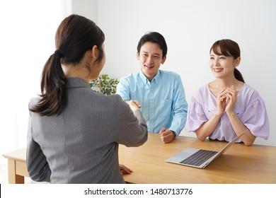 Twenty Japanese couple contract scene