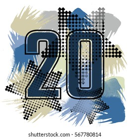 Twenty number with halftone design. T-shirt design on watercolor background with stars. Textile print for girls or boys.