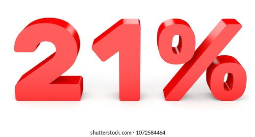 Twenty one percent off. Discount 21 %. 3D illustration on white background.