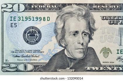 twenty paper dollars bill macro