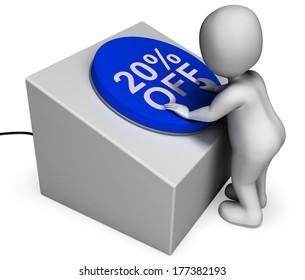 Twenty Percent Off Button Showing 20 Price Cut
