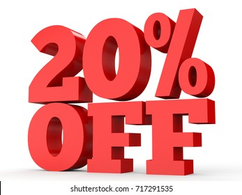 Twenty percent off. Discount 20 %. 3D illustration on white background.