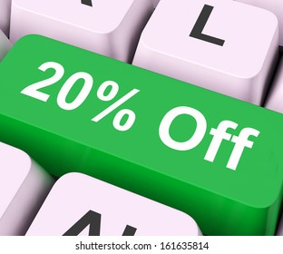 Twenty Percent Off Key On Keyboard Meaning Discount Rebate Or Sale