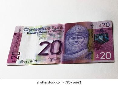 Twenty pounds banknote. Scottish money.