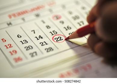 Twenty second day of month/ Month Calendar