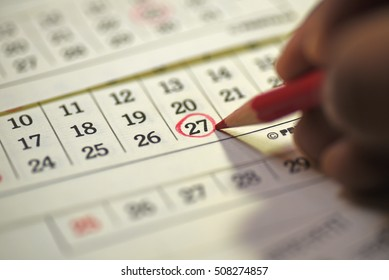Twenty seventh day of month/ Month Calendar/ Planning mark on the date