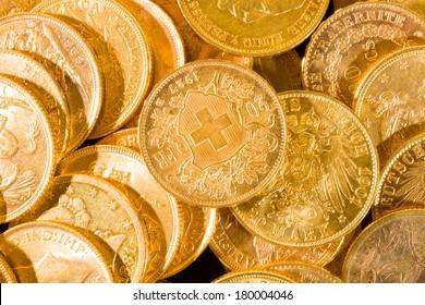 Twenty Swiss Francs gold coins