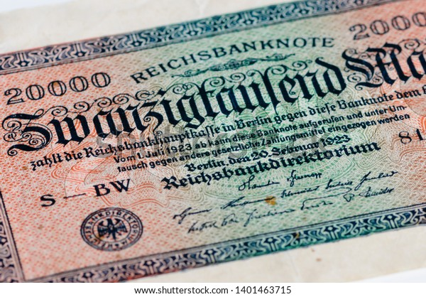 Twenty thousand mark (20,000 marks) bank note from the German Reichsbank, July 1923, as a result of hyperinflation