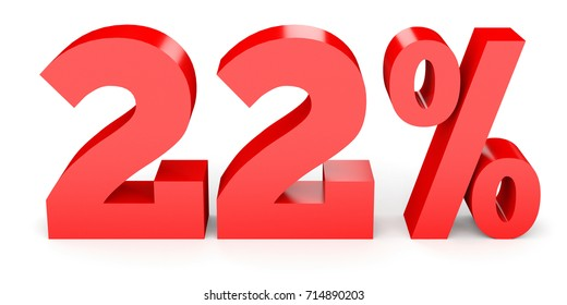 Twenty two percent off. Discount 22. 3D illustration on white background.