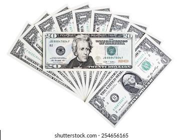 Twenty U.S. dollar banknote, abstract background.