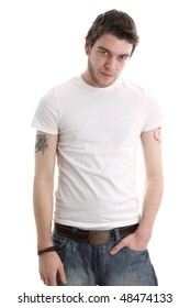 Twenty year old guy in a white shirt