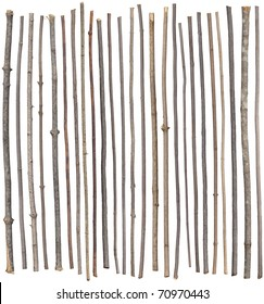 Twenty-five separated sticks isolated on white.