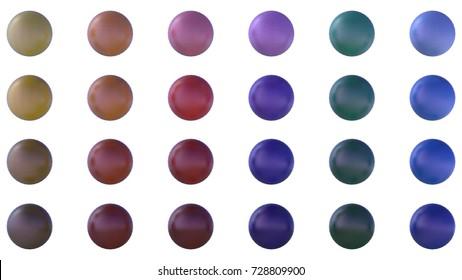 twenty-four colors round icon 3d rendering