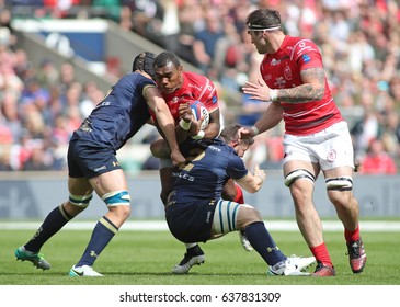 TWICKENHAM, ENGLAND - APRIL 29 2017: The Babcock Trophy rugby union match between The British Army and the Royal Navy played in Twickenham Stadium, on April 29, 2017 in Twickenham, England.