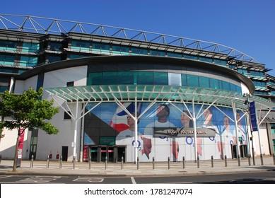 Twickenham, London / UK - July 2020: Outside view of Twickenham Stadium