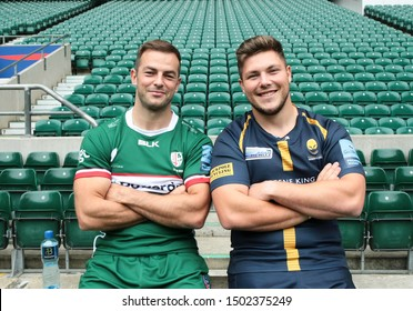 Twickenham, UK. 11th September 2019. Stephen Myler of London Irish and Ethan Waller of Worcester Warriors pose for a photo at the Premiership Rugby 2019-20 season launch at Twickenham Stadium
