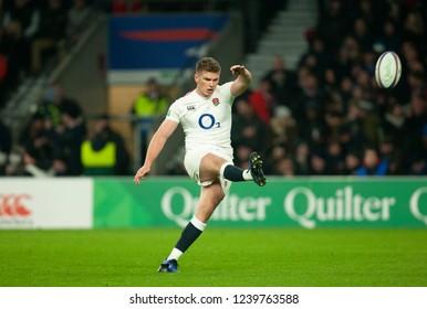 Twickenham, UK. 24th November 2018. England's Owen Farrell kicks a conversion during the Quilter International Rugby match between England and Australia