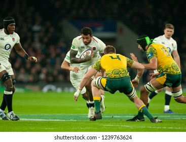 Twickenham, UK. 24th November 2018. England's Courtney Lawes runs with the ball during the Quilter International Rugby match between England and Australia