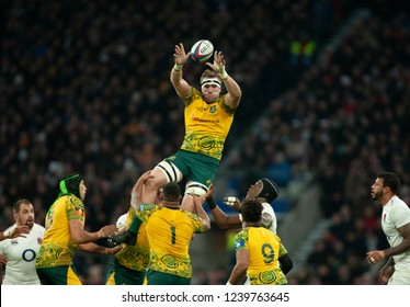 Twickenham, UK. 24th November 2018. Australia's Izack Rodda catches a line out ball during the Quilter International Rugby match between England and Australia