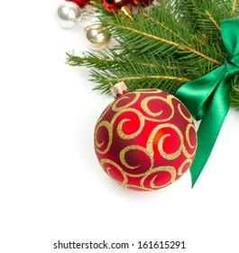 twigs of fir tree and Christmas balls