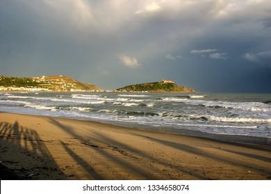 Twilight Along the Coast of Tabarka with Shadows Cast on the Beach