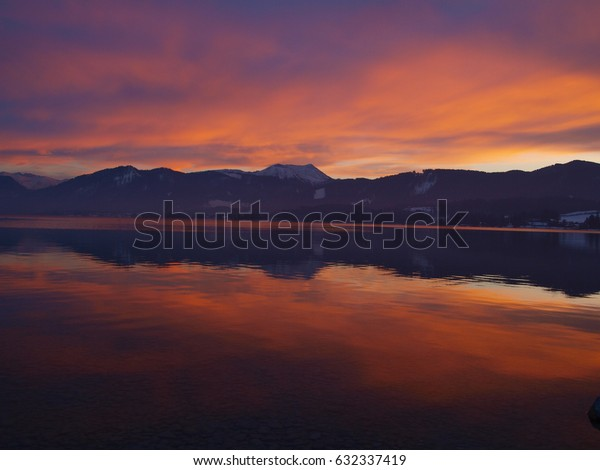 Twilight at an alpine lake