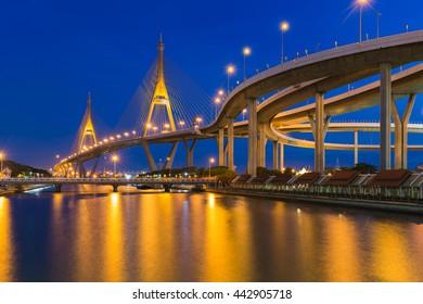 Twilight background, Suspension bridge connect to highway interchange river front