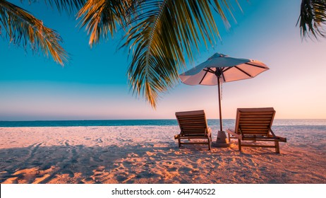 Twilight beach. Idyllic tropical beach landscape for background or wallpaper. Design of summer vacation holiday concept.