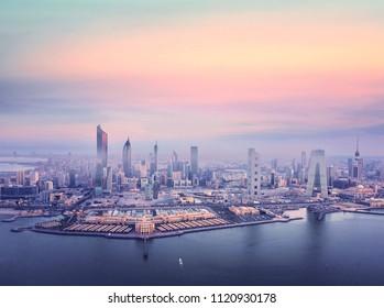 Twilight, beautiful kuwait city skyline taken by drone