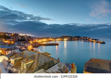 Twilight at the beautiful seaside town of St. Ives in Cornwall, England