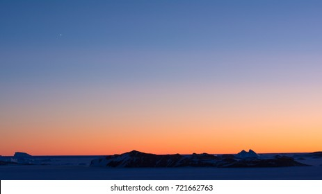 Twilight before morning sunrise at Antarctica. These pictures were taken at Larsemann hills , Antarctica on 06-15-2017.