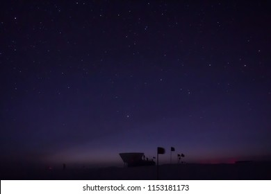 Twilight before sunrise at the KECK telescope at the Amundsen-Scott South Pole Research Station