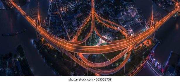 "Twilight at ""Bhumibol"" Bridge in Bangkok. / ""Bhumibol"" Bridge / The Golden in the dark."