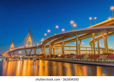 Twilight at Bhumibol Bridge, Bangkok, Thailand