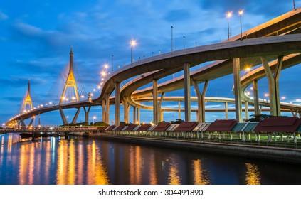 Twilight at Bhumibol Bridge in Samut Prakan, Thailand