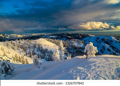 Twilight at Bogus Basin ski area in Boise, Idaho
