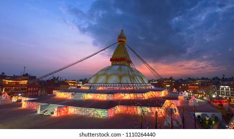 Twilight Boudhanath stupa Kathmandu Nepal.