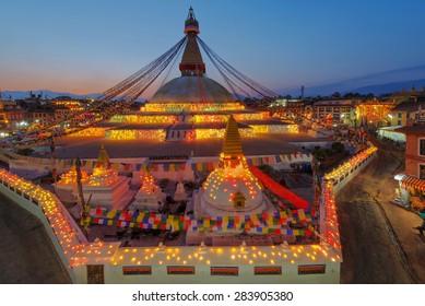 Twilight Boudhanath stupa Kathmandu Nepal