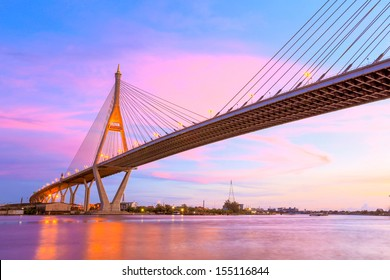 twilight building Highway bridge concrete with cable connection structure cross river area Bangkok City