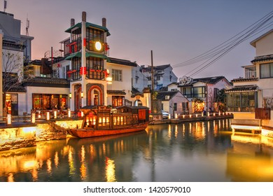 Twilight canal scene in Pingjiang distric of Suzhou, China near Shanghai.