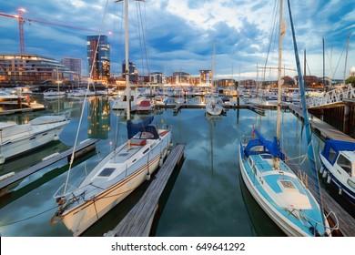 Twilight capture of Southampton's Ocean Village Marina on a warm evening.