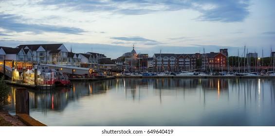 Twilight capture of Southampton's Town Quay Marina on a warm evening.