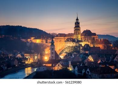 Twilight at Cesky Krumlov city with Castle ,Church and Vltava river, Czech republic