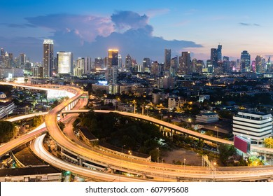 Twilight city office downtown and highway intersection, Bangkok Thailand