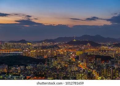 twilight city scape at seoul korea